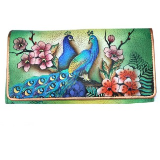 Anuschka Genuine Leather Accordion Flap Wallet Hand Painted Passionate Peacock