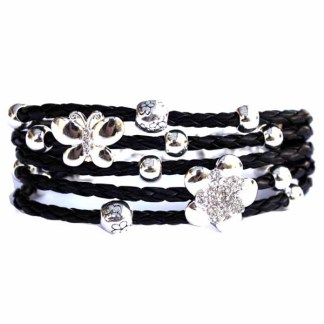 Polished Silver Floral Flower Butterfly Motif Braided Leather Toggle Bracelet