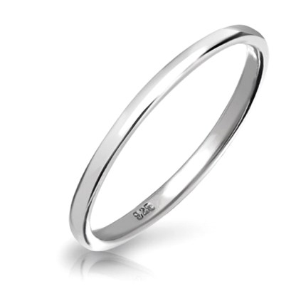 Sterling Silver Solid 925 Plain Wedding Band Ring Rounded 2 MM Size 5, Gift Box