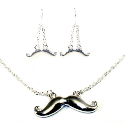Trendy Hipster Handlebar Mustache Motif Silver Plated Necklace Earring Set