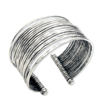 Silver Fever® Wide Multi Row Metal Cuff Bracelet