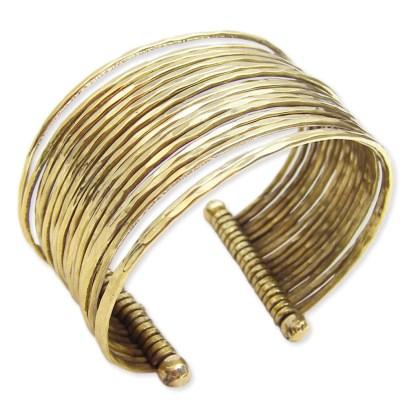 Silver Fever® Wide Multi Row Metal Cuff Bracelet