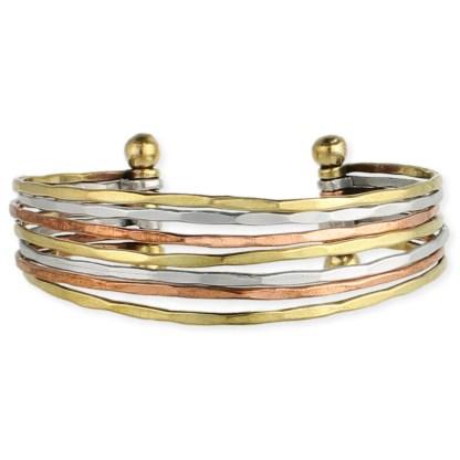 Silver Fever® Tri- Tone Multi Row Metal Cuff Bracelet