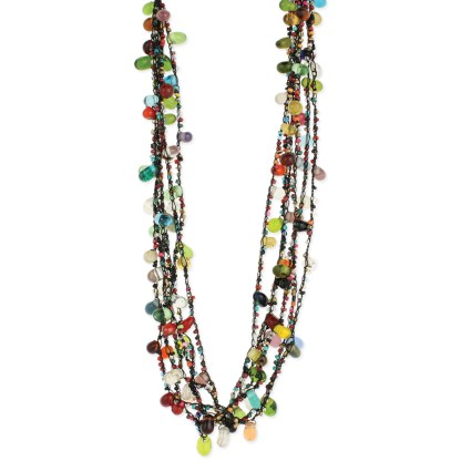 Silver Fever® Multi Strand Thread and Large Glass Bead Necklace