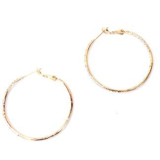 Double Sided Cubic Zirconia Studded 35mm Hoop Gold Plated Fashion Earrings