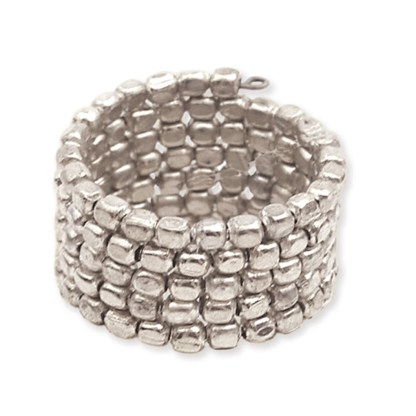 Silver Fever® Wrap Around Adjustable Silver Beaded Ring