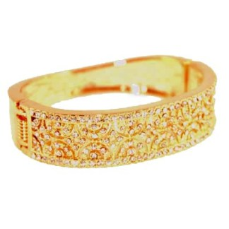 CZ Studded Filigree 18K Gold Plated Bangle Bracelet