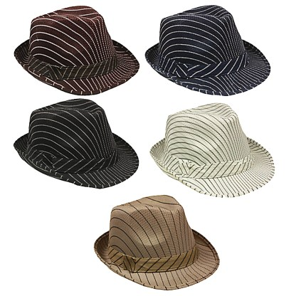 Silver Fever Thin Brimmed Stripped Fedora