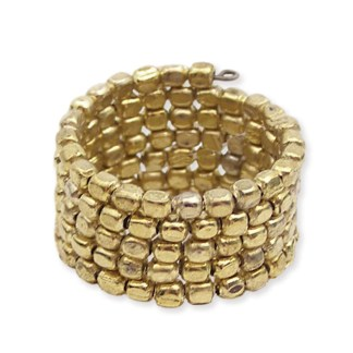 Silver Fever® Wrap Around Adjustable Gold Beaded Ring