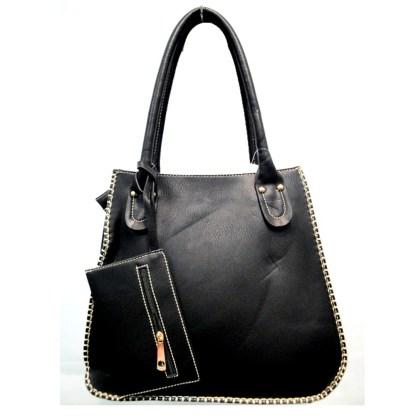 Tall Posh Glamorous Side Gold Plated Chain Border Black Hobo Handbag