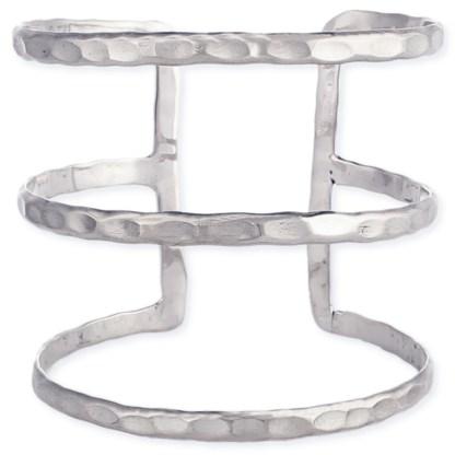Silver Fever® Triple Bar  Hammered Metal Wide Cuff Bracelet