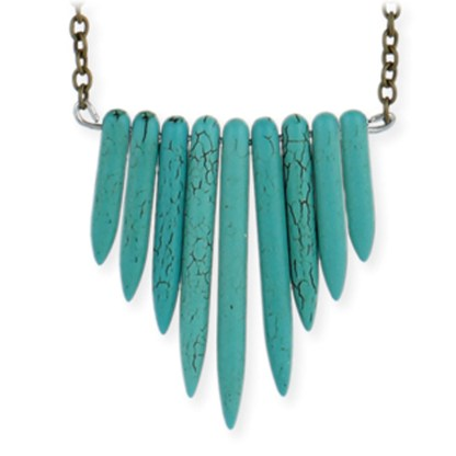 Silver Fever® Long Turquoise Stone and Metal Necklace