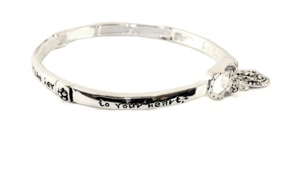 Gift of Mother Holds Key To Heart Silver Infinity Circle Bangle Bracelet