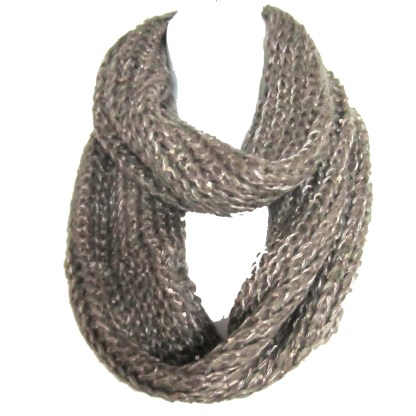 Braided Sequenced Detail Soft Woven Infinity Loop Figure Eight Scarf Khaki