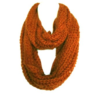 Braided Sequenced Detail Soft Woven Infinity Loop Figure Eight Scarf Dark Orange