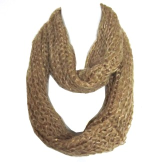 Braided Sequenced Detail Soft Woven Infinity Loop Figure Eight Scarf Tan