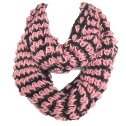 Mix Thread Braided 2-Tone Soft Woven Infinity Loop Figure-8 Scarf Pink Black