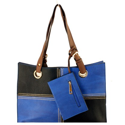 Medium 2-in-1 Flat 2-Tone Black Blue Pocketbook Tote Shoulder Handbag