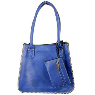 Tall Posh Glamorous Side Gold Plated Chain Border Blue Hobo Handbag
