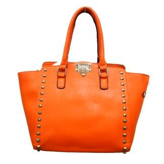 Posh Glamorous Gold Plated Square Studded Orange Tote Handbag