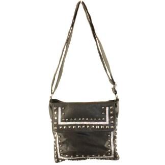 Zippered Crystal & Metal Studded Black Crossbody Messenger Bag