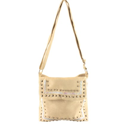 Zippered Crystal & Metal Studded Apricot Crossbody Messenger Bag