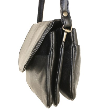 Small Speedy Soft Genuine Leather Black Flap Shoulder Handbag Purse