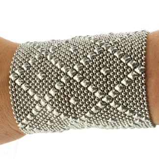 "Sergio Gutierrez Liquid Metal Extra Wide 3.5"" Diamond Pattern Cuff Bracelet -3 Closures"