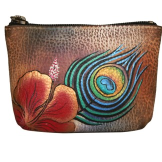 Anuschka Genuine Leather Coin Zip-Up Pouch Hand Painted Premium Peacock Flower