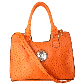 Ostrich Print Embossed Medium Structured Orange Satchel Silver Fever® Handbag Crossbody