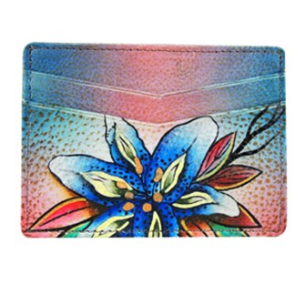 Anuschka Genuine Leather Credit Card Holder Hand Painted Lushius Lilies Denim