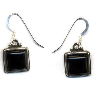 Genuine Onyx Sterling Silver Square Drop Earrings Spiritual Inspiration Stone