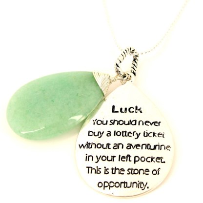 LG Teardrop Power Of Stone Inspirational Silver PL Necklace Aventurine Luck