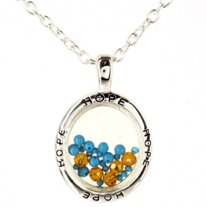 Two Tone Charm Necklace Teardrop Turquoise Stone & Crystals Perfect Faith Gift