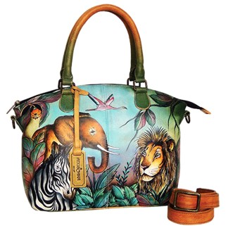 Anuschka Gen Leather Medium Convertible Satchel Hand Painted African Adventure