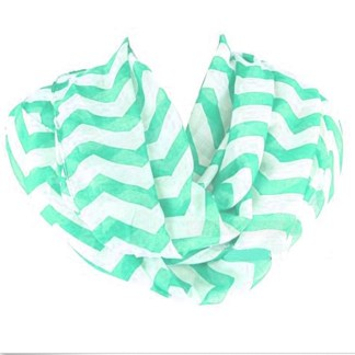 Chevron Print Detail Soft Mint Infinity Loop Figure Eight Scarf