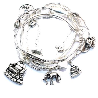 Six  GOOD KARMA Charm Bracelets Silver Luck Love Buddha Elephant Chinese Coin Ch