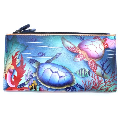 Anuschka Two Fold Organizer Wallet Snap & Zip Hand Painted Genuine Leather Ocean Treasures