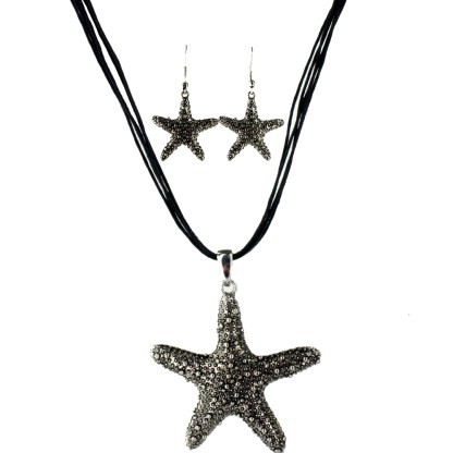 Starfish Dripping Antiqued Silver Charm Necklace Earring Set Five Black Cords