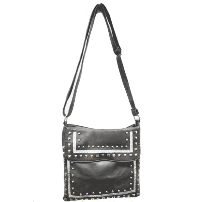 Zippered Crystal & Metal Studded Gray Crossbody Messenger Bag