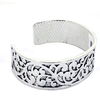 Cut Out Bali Motif Floral Designer Weave Cuff Bangle Bracelet Silver Plated