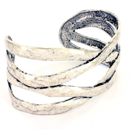 Open Crisscross Designer Weave Cuff Bangle Bracelet Silver Plated