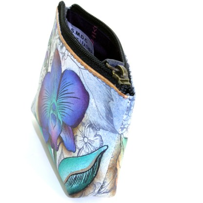 Anuschka Genuine Leather Coin Zip-Up Pouch Hand Painted Floral Fantasy