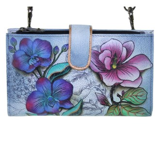 Anuschka Large Smart Phone Case & Wallet Bag Genuine Handpainted Leather Floral Fantasy