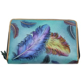 Anuschka Twin Zip Around Organizer Wallet Hand Painted Leather Floating Feathers