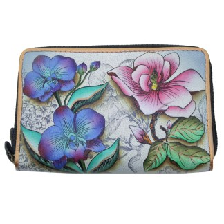Anuschka Twin Zip Around Organizer Wallet Hand Painted Leather Floral Fantasy
