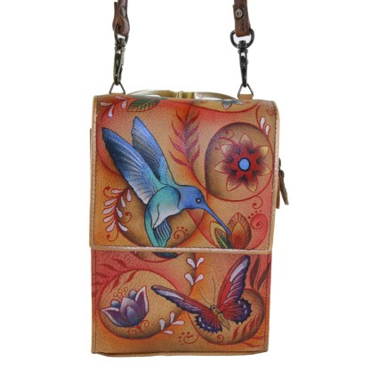 Anuschka Roomy Mini Sling Organizer Cross Body Traveler Hand Painted Flying Jewles Tan