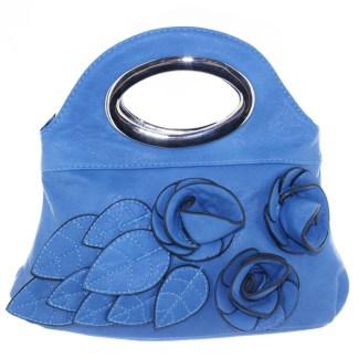 Silver Fever® Rose Applique Mini Clutch Crossbody Handbag Blue