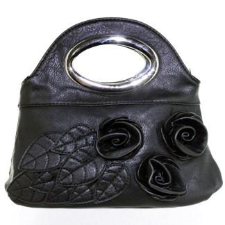 Silver Fever® Rose Applique Mini Clutch Crossbody Handbag Black