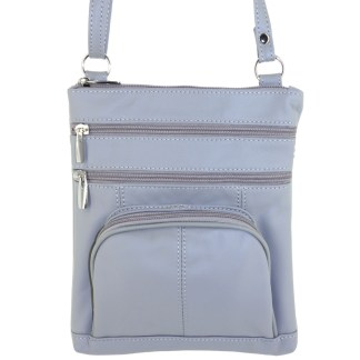Silver Fever® Genuine Leather CrossBody Shoulder purse with Round Pocket